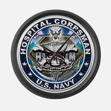USN Hospital Corpsman Skull H Large Wall Clock