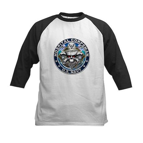 USN Hospital Corpsman Skull H Kids Baseball Jersey