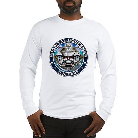 USN Hospital Corpsman Skull H Long Sleeve T-Shirt