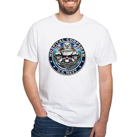 USN Hospital Corpsman Skull H White T-Shirt