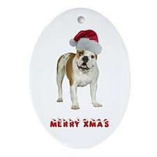 Bulldog Christmas Ornament (Oval)