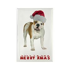 Bulldog Christmas Rectangle Magnet