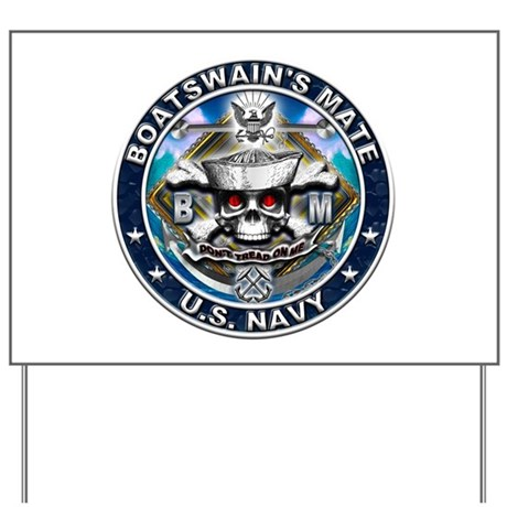 USN Boatswains Mate Skull BM Yard Sign