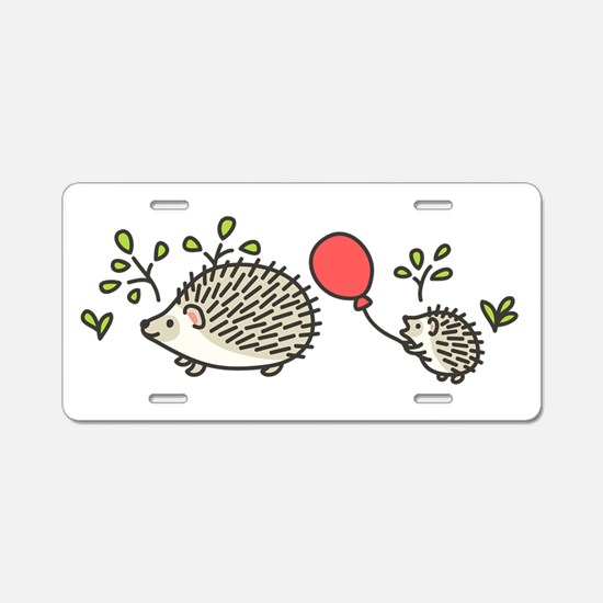 Baby Hedgehog's Red Balloon Aluminum License Plate