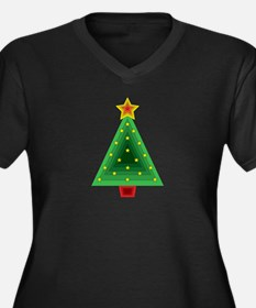 Triangle Christmas Tree Women's Plus Size V-Neck D