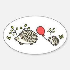 Baby Hedgehog's Red Balloon Sticker (Oval)