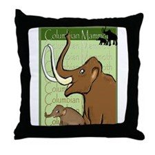 Columbian Mammoth and Baby Throw Pillow