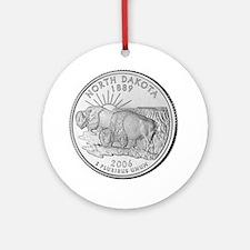North Dakota State Quarter Ornament (Round)