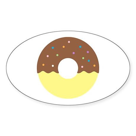 Donut - Chocolate Half Dip Sticker (Oval 50 pk)