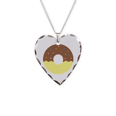 Donut - Chocolate Half Dip Necklace Heart Charm