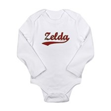 Zelda, Red Script Long Sleeve Infant Bodysuit