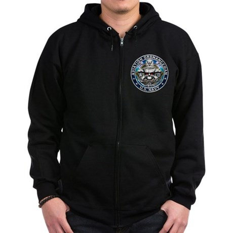 USN Aviation Ordnanceman Skul Zip Hoodie (dark)