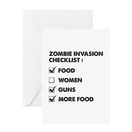 Zombie Invasion Checklist Greeting Card
