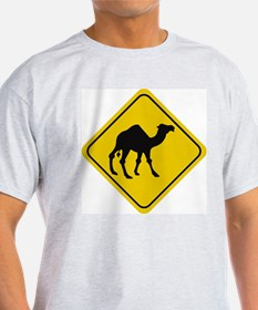 Camel Crossing Sign Ash Grey T-Shirt