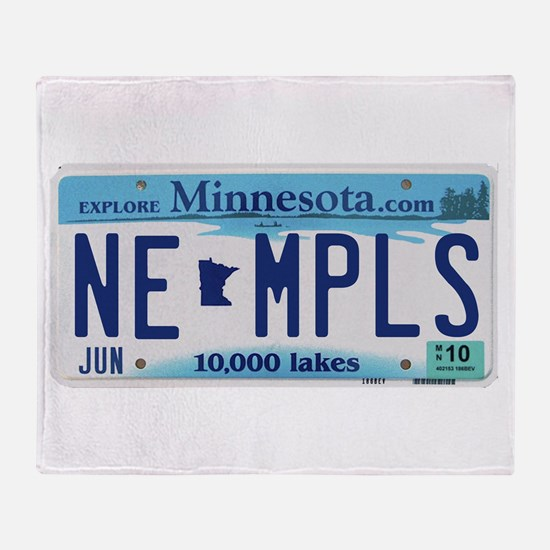 NE Minneapolis License Plate Throw Blanket