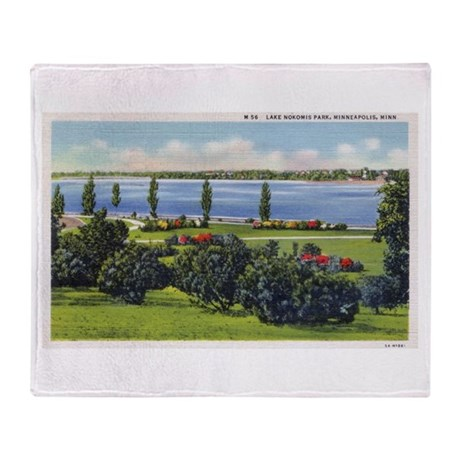 1935 View of Lake Nokomis Throw Blanket