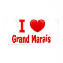 I Love Grand Marais Aluminum License Plate