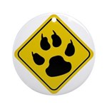 Cat Crossing Sign Ornament (Round)