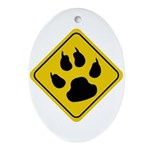 Cat Crossing Sign Oval Ornament