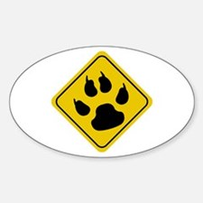 Cat Crossing Sign Oval Decal