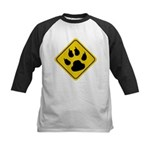 Cat Crossing Sign Kids Baseball Jersey
