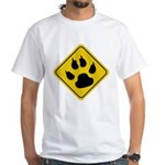Cat Crossing Sign White T-Shirt