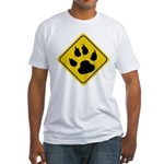 Cat Crossing Sign Fitted T-Shirt