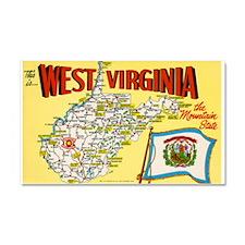 1950's West Virginia Map Car Magnet 20 x 12