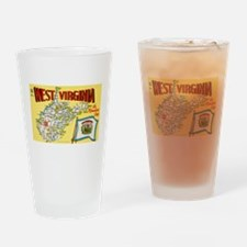 1950's West Virginia Map Drinking Glass