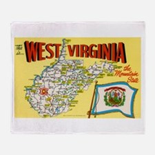 1950's West Virginia Map Throw Blanket