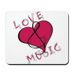 Love music heart Mousepad