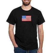 American / US Flag Black T-Shirt