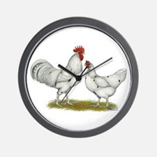 Austra White Chickens Wall Clock