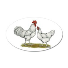 Austra White Chickens 22x14 Oval Wall Peel