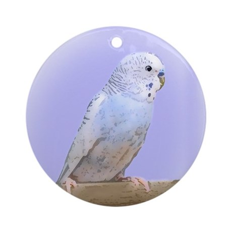 Blue Budgie Ornament (Round)