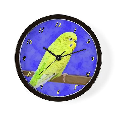 Male Yellow Budgie Wall Clock
