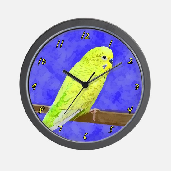 Male Yellow Budgie Wall Clock