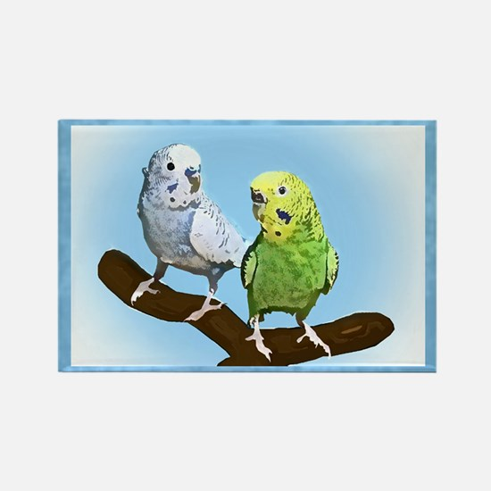 Budgie Pair Rectangle Magnet
