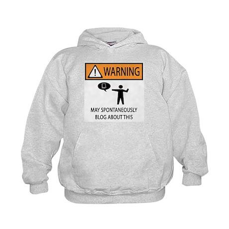 Warning Blogger Kids Hoodie