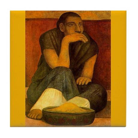 Diego Rivera Pinole Seller Art Tile Coaster