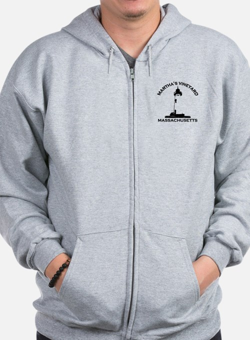 Martha's Vineyard MA - Lighthouse Design. Zip Hoodie