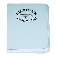 Martha's Vineyard MA - Whale Design. baby blanket