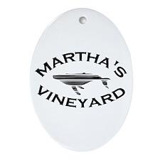 Martha's Vineyard MA - Whale Design. Ornament (Ova