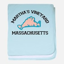 Martha's Vineyard MA - Map Design. baby blanket