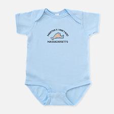 Martha's Vineyard MA - Map Design. Infant Bodysuit