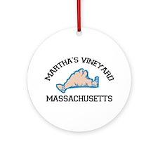 Martha's Vineyard MA - Map Design. Ornament (Round