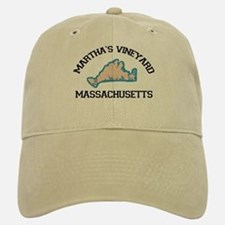 Martha's Vineyard MA - Map Design. Baseball Baseball Cap