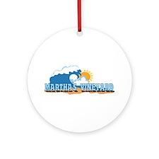 Martha's Vineyard MA - Waves Design. Ornament (Rou