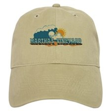 Martha's Vineyard MA - Waves Design. Baseball Cap