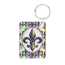 Fleur de lis Mardi Gras beads Keychains